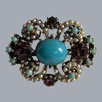 Vintage Italian Florenza Style Purple Rhinestone Faux Turquoise & Seed Pearl Brooch