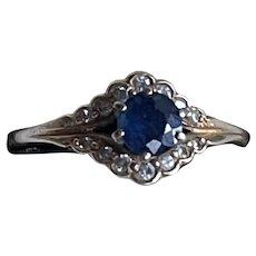 Antique Edwardian 14K Gold Sapphire & Diamonds Krementz Ring