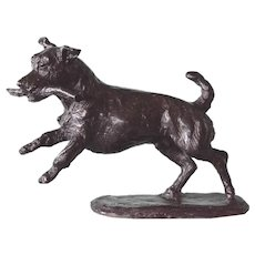 Bronze Jack Russell with a stick by Belinda Sillars, U.K.