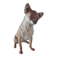 Vintage seated Chihuahua sculpture -painted bronze/silver.