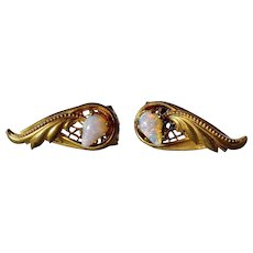 Antique pair of gold tone/opal earrings, 1920c.