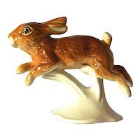 Karl Ens , porcelain spring leaping happy rabbit, 1950c.