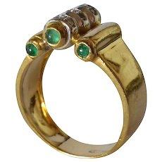 An 18k Gold Emerald & Diamond Cocktail Ring, Italian, 1950c.