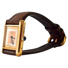 Must de Cartier ' Tank' vintage watch, mechanical winding.