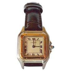 Ladies  vintage Cartier  'Santos'  bi-colour wrist watch on strap, automatic movement, vintage.