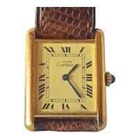 Le Must de Cartier Tank silver gilt wristwatch, mechanical movement, vintage.