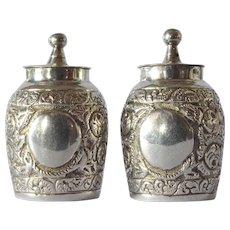 Antique silver pepperettes, Edward Hutton, London, 1891.