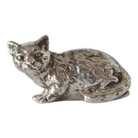 Vintage Bat-Ami, Israeli silver ( 925 ) gilded crouching cat.