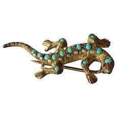 A Silver Gilt & Turquoise & Half-pearl Lizard Brooch,  Austro-Hungarian, 1890c.