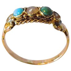 A 18 ct. Gold ,Turquoise & Half-pearl Ring, antique - 1850 c.