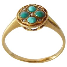 Gold (18k ) ring with turquoise/pearl set,1900c.
