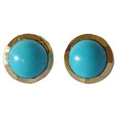 Vintage pair of 18k gold/turquoise stud earrings.