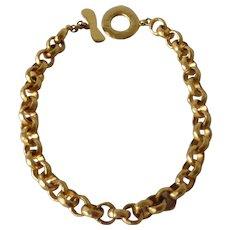Spectacular vintage Edouard Rambaud gold tone costume necklace,1980s.