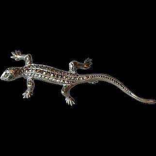Vintage silver ( 800 standard) lizard / stone set pin brooch.