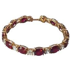"A Vintage Regency Hall Joailliers  Silver Gilt ""Ruby & Diamond"" Costume Bracelet."