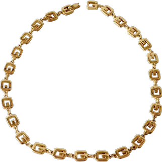 Vintage Givenchy gold tone necklace, 1980s.