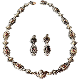 Victorian Austro-Hungarian Garnet and Pearl Necklace and Earring Set,1890c.