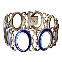 Art Deco Blue Enamel Silver Bracelet,1935c.