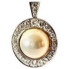 Vintage 18K Mabe Pearl and Diamond Pendant, 1960c.