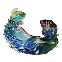 Vintage art glass - 'fish on a wave.'
