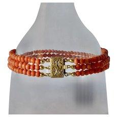 Coral ( Italian Meditarraenian ) bracelet, silver gilt clasp, 1945c.
