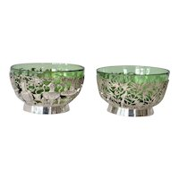 Chinese export silver, two silver/glass bowls, Tien Shing,1880c.