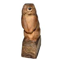Vintage Swiss alpine carved wooden marmot, 1966 ,signed.
