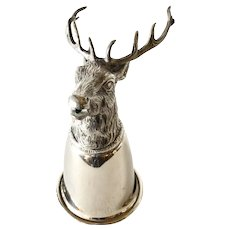 Stirrup cup by Gucci, Italy - stag's head -silver plate cup/pewter head, 1970c.