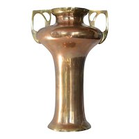 Secessionist, Austrian brass two handled vase, 1910-1920.