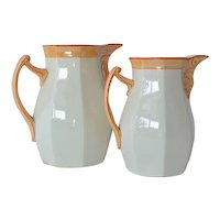 Villeroy Boch Schramberg, pair of ceramic pitchers, circa 1890.