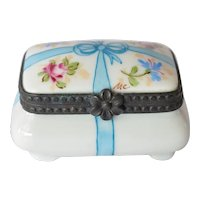 Limoges hand painted small oblong porcelain trinket box.