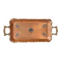 A Continental Secessionist Art Nouveau Two Handled Copper Tray, 1910-1920.