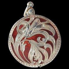 Silver ( 800 - 900 ) ruby red enamelled pendant sliding mirror,  1904 c.