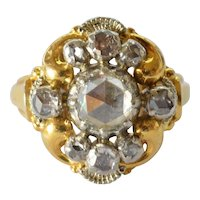 A 18ct gold rose cut diamond set cluster ring, 20th century.