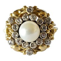 A rose diamond set cluster  yellow gold ring, 20th. century.