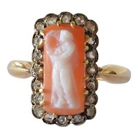 Hard stone (cornelian) cameo set cluster gold 18ct ring, 20th century.