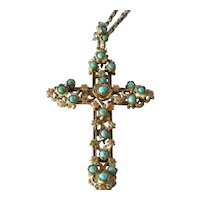 Turquoise,enamel gilt cross on chain, 1900 - 1920.