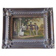 "Oil painting , European School , 19th Century, "" Travellers returning."""