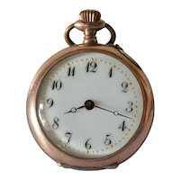 Open face, silver and 12k gold pocket watch, unsigned, Swiss made watch with case made by Galonné, Switzerland, Circa 1910.
