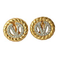 Pair of vintage Valentino earrings, gold tone/rhinestone jewels, 1980s