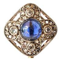 Stickpin, antique gold (14 ct ) stick pin, cabochon sapphire/diamonds, 1900-1910.