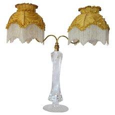 An original Samuel Clarke ' Cricklite' candle lamp ( with original shades ),  1900c.