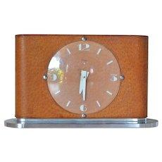 Imhof late Art Deco,1945 c., leather, plastic and steel desk clock, Arthur Imhof, SA, La Chaux de Fonds, Switzerland.