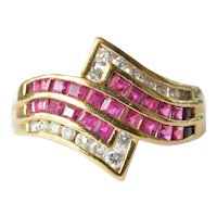 Vintage ruby and diamond 18 ct. gold ring , 1987.