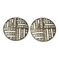 Pair art deco style sterling silver ( 925 ) / rhinestone earrings, 1950c.