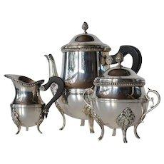 A French silver-plate 3 piece tea set, Orfèvrerie Ercuis, Paris, 1950 c.