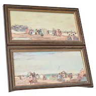 Davain Lesage - Pair of Beach Scenes - on the beach at Deauville.