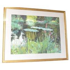 Watercolour of a Lilly Pond by Jürg Treichler ( 1943 - ), Switzerland.