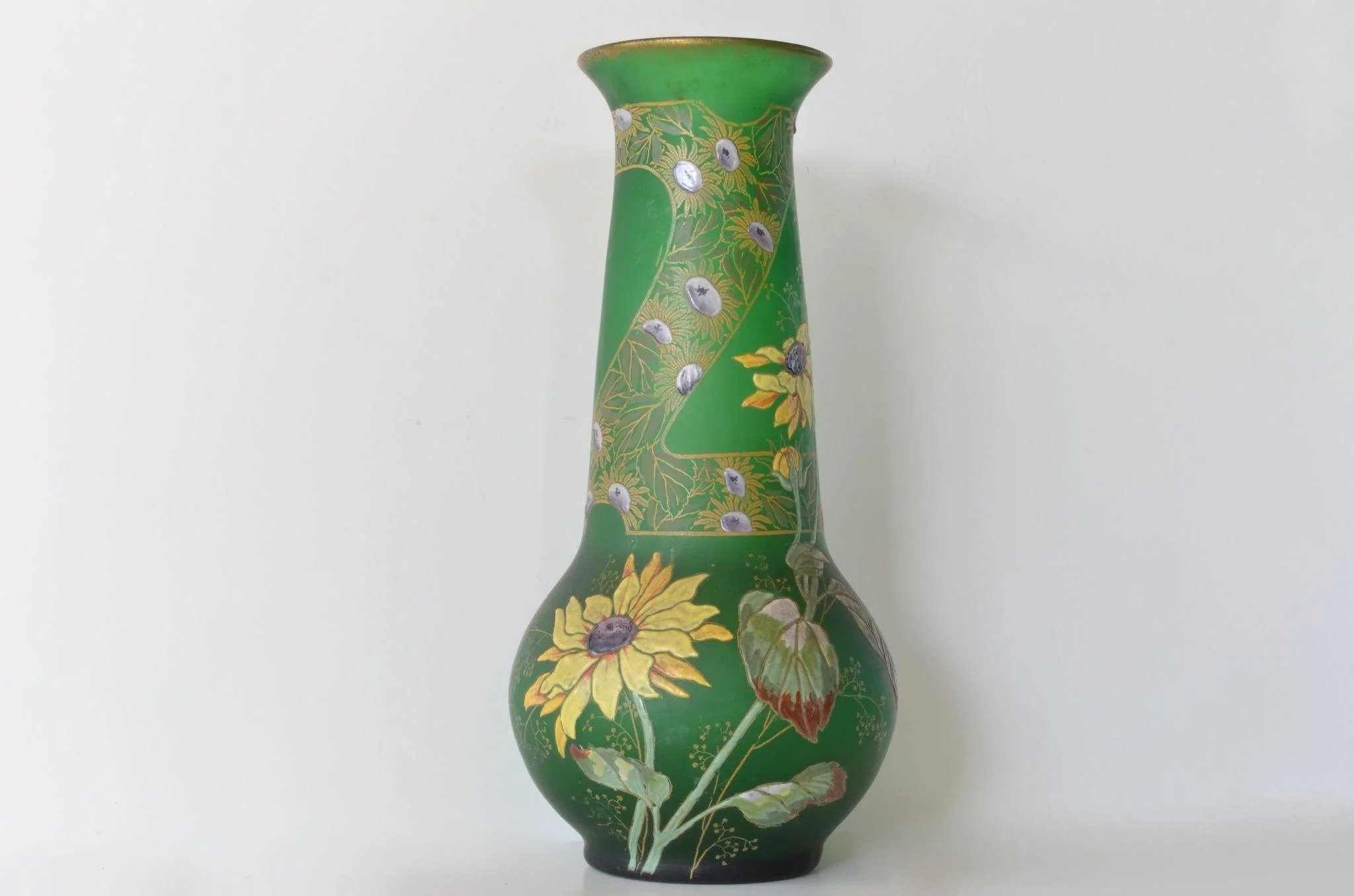 Aesthetic movement enamelled green glass vase 1860 to 1880 click to expand reviewsmspy