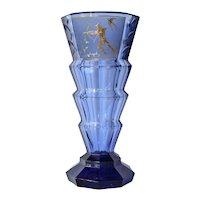 A blue glass vase, probably Moser, 1930c.